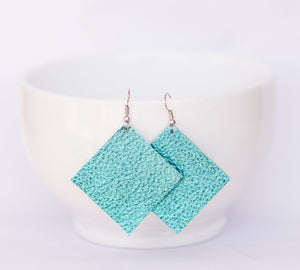 Robins Egg Blue Square Earrings