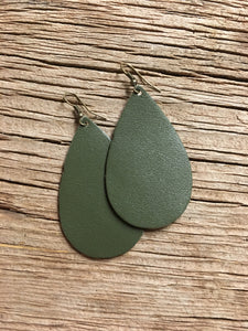 Dark Sage Teardrop Earrings
