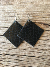 Black Fishnet Square Earrings