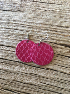 Hot Pink Fishnet Circle Earrings