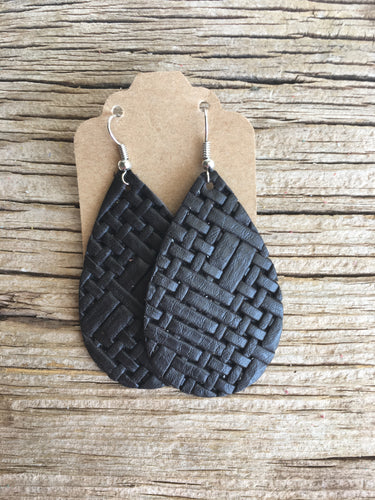 Black  Basket Weave Teardrop Earrings