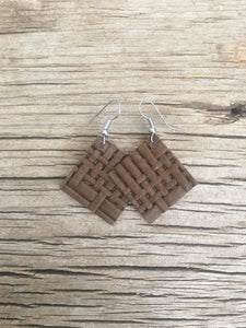 Chestnut Basket Weave Square Earrings