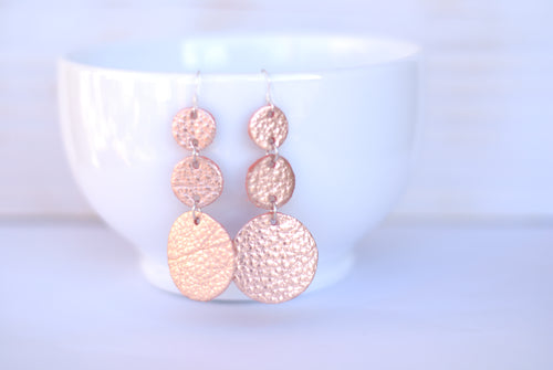 Rose Gold Triple Drop Earrings