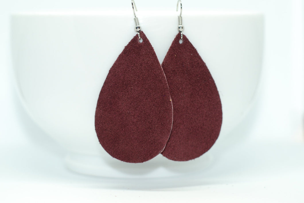 Plum Suede Teardrop Earrings