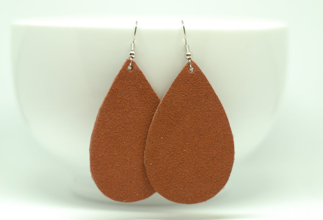 Burnt Orange Suede Teardrop Earrings