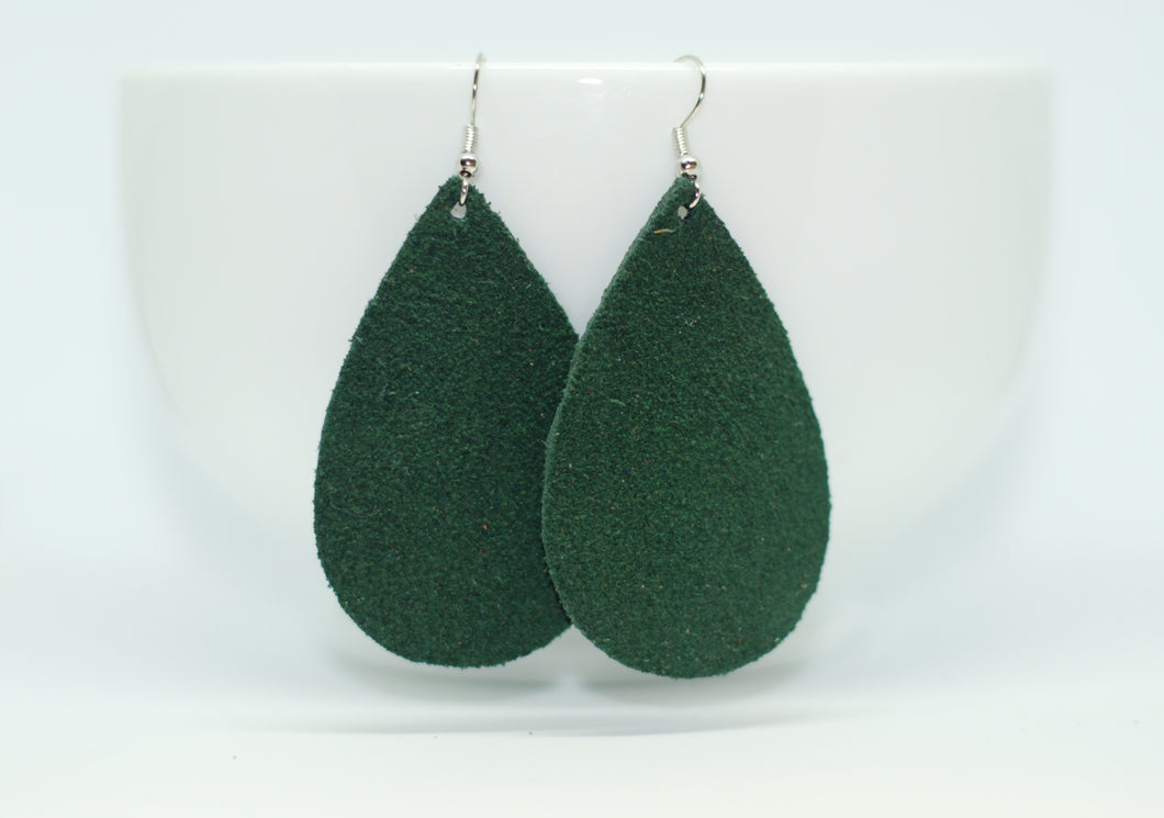 Green SuedeTeardrop Earrings