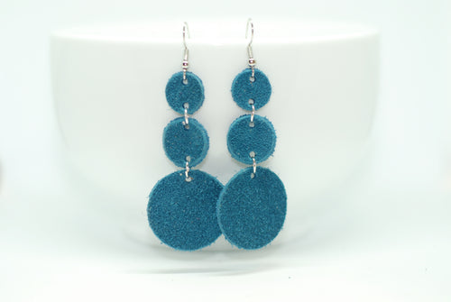 Teal Suede Triple Drop Earrings