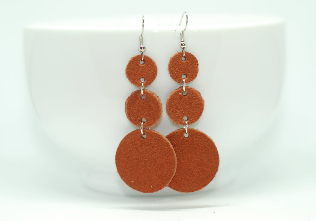 Burnt Orange Suede Triple Drop  Earrings