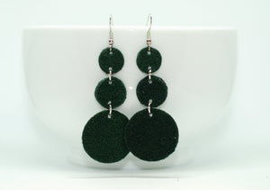 Green Suede Triple Drop Earrings