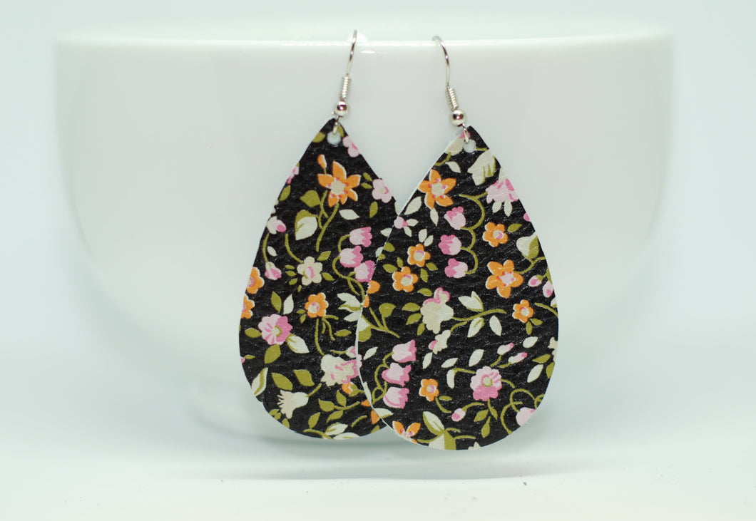 Black Floral Teardrop Earrings