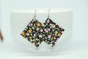 Black Floral Square Earrings