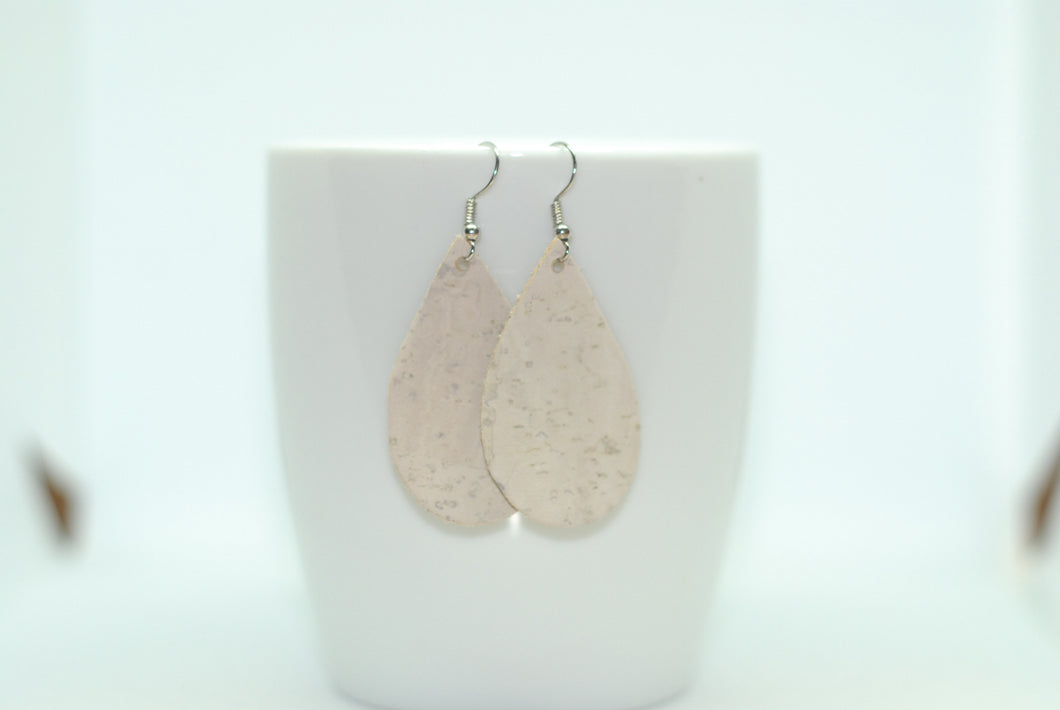 White Wash Cork Leather Teardrops
