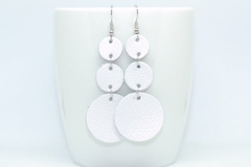 White Triple Drop Earrings
