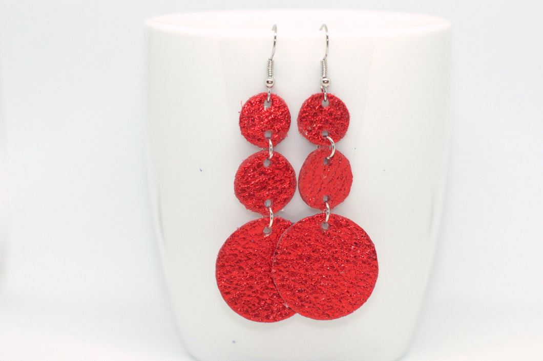 Red Sparkle Triple Drop Earrings