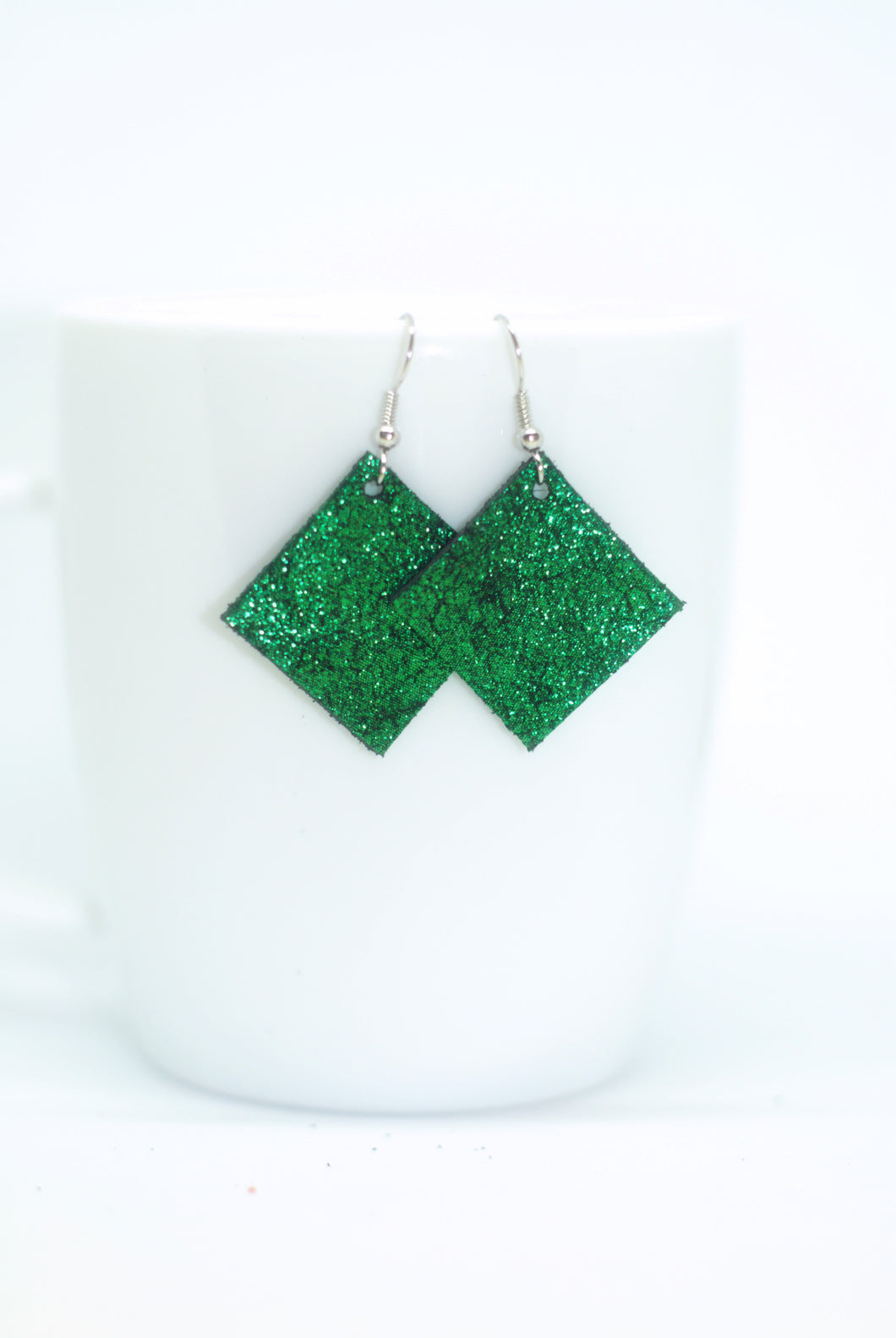Emerald Green Square Earrings