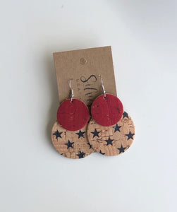 Red and Natural with black Stars  Cork Clusters
