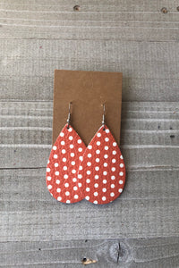Orange and White Polka Dot Teardrops