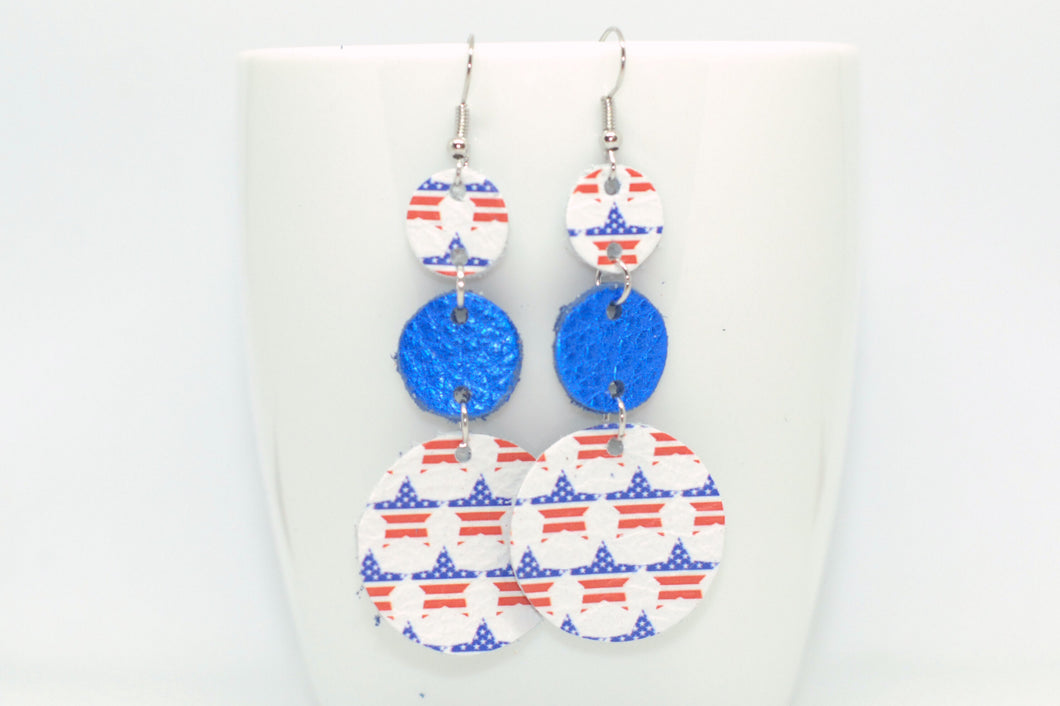 Star/ Blue Triple Drop Earrings