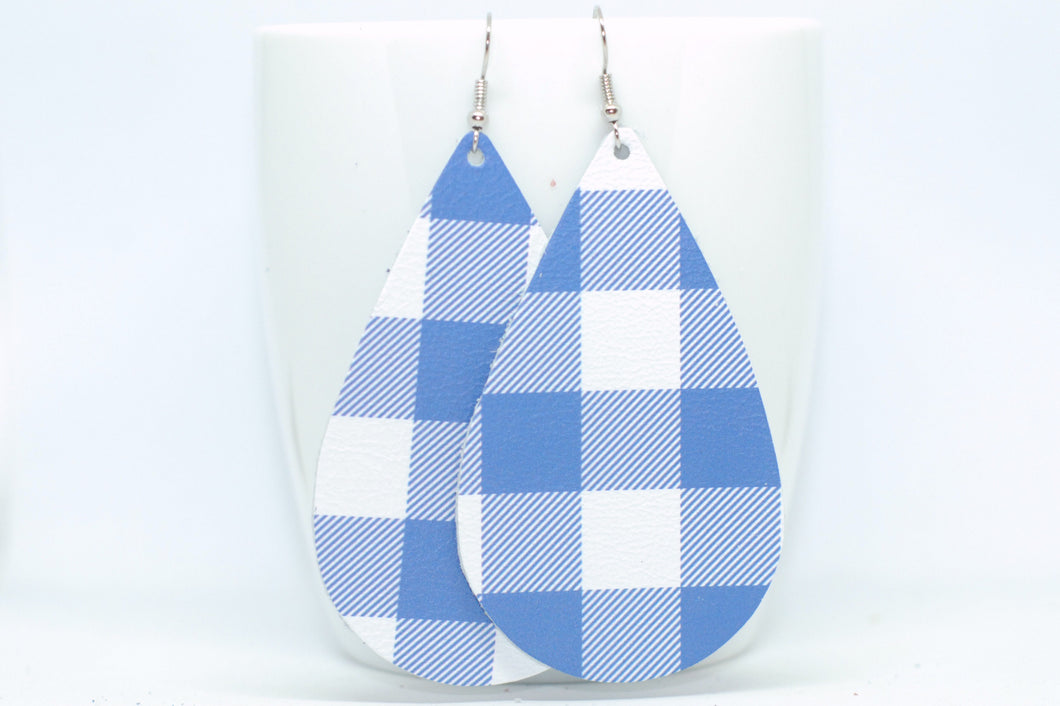 Blue Plaid Teardrops