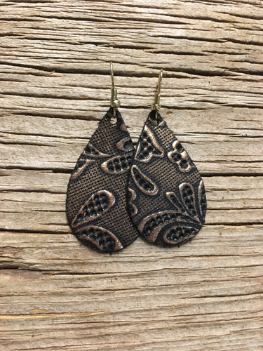 Copper Floral Embossed Teardrop Earrings
