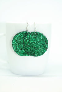 Emerald Green Circle Earrings