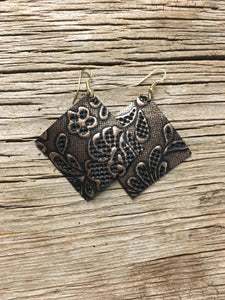 Copper Floral Square Earrings
