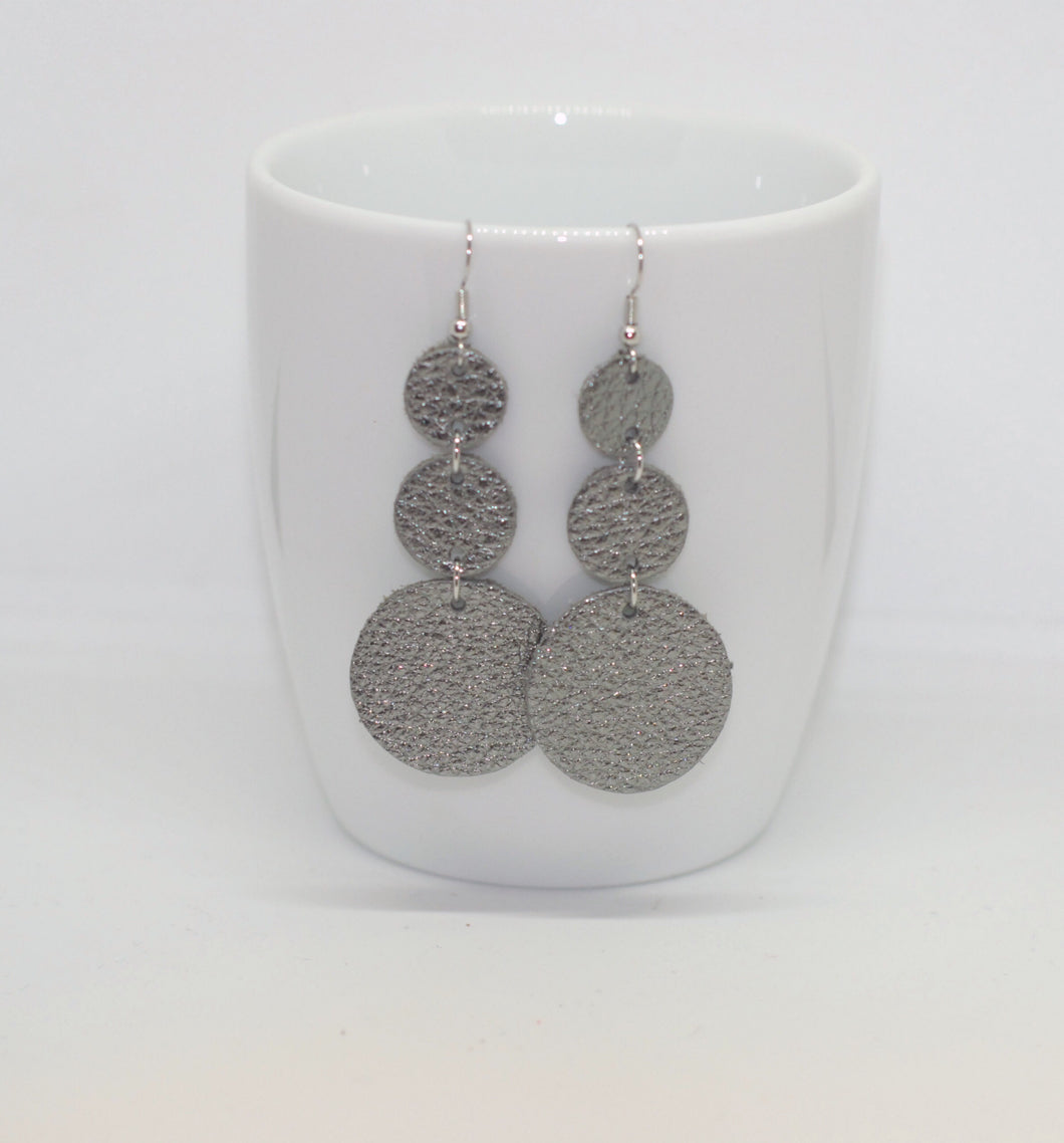 Gun Metal Triple Drop Earrings