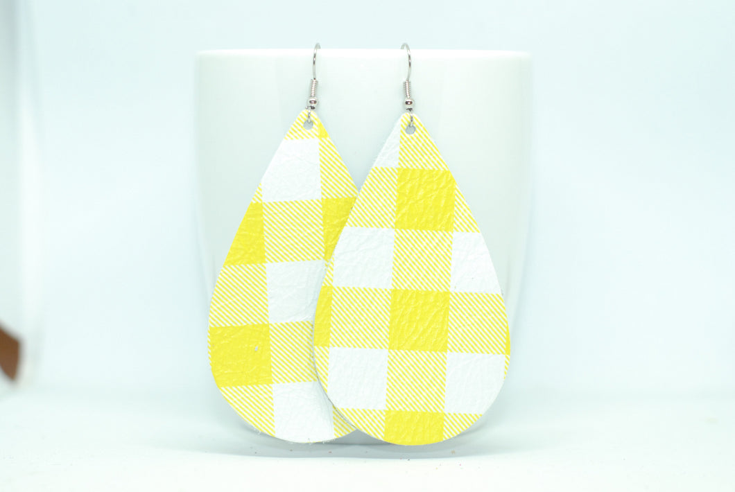 Yellow Plaid Teardrops