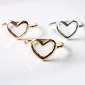 Open Heart Ring - Moondrop Jewelry