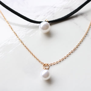 Twin Pearls Necklace - Moondrop Jewelry