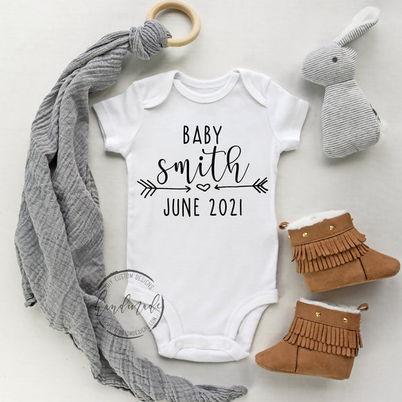 Personalized First and Last Name Announcement Onesie\u00ae Pregnancy Announcement Custom Baby Shower Gift for Girl or Boy Baby Name Onesie\u00ae