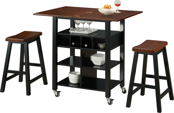 Monterey Kitchen Island with 2 Stools