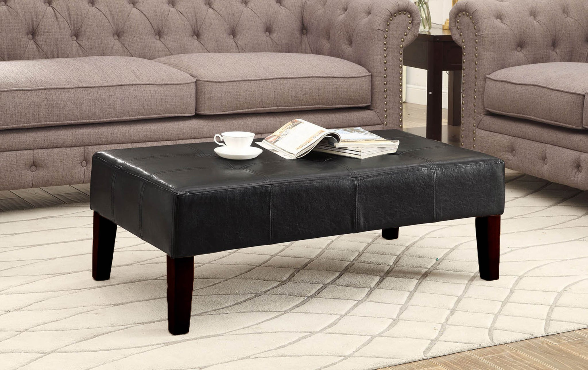 bench tufted soft bedroom black brown rectangular table upholstered living cocktail long leather gray coffee square fabric real round storage seat sofa ottoman room