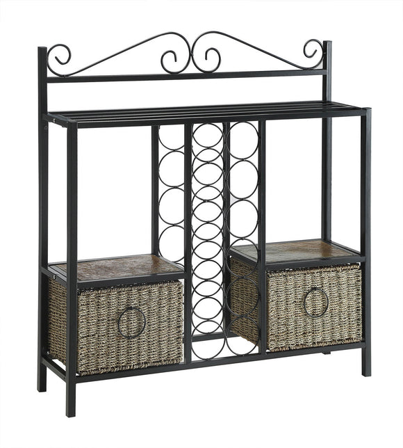 Wellington Storage Towel/Wine Rack w/ 2 Baskets