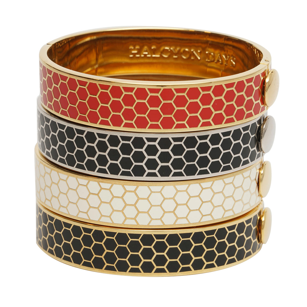 Halcyon Days Honeycomb Hinged Bangle