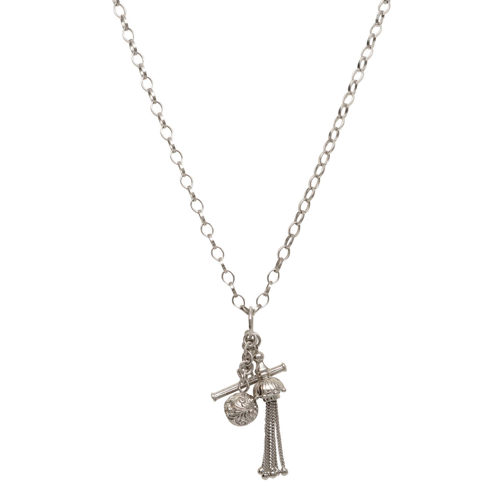 Monica Rich Kosann Tassel Toggle Charm Necklace