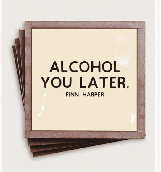 Alcohol You Later Copper & Glass Coasters