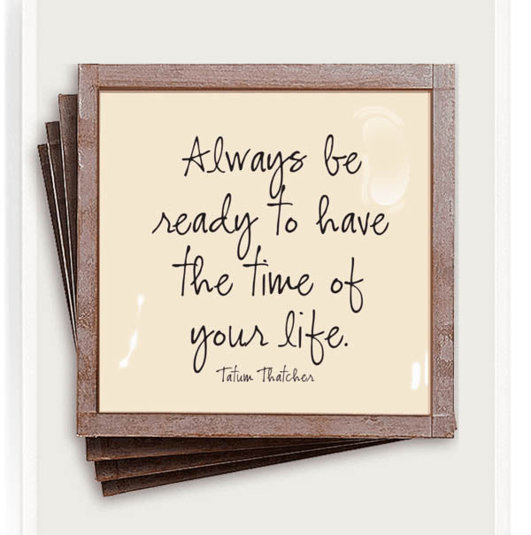 Always Be Ready Copper & Glass Coasters, Set of 4