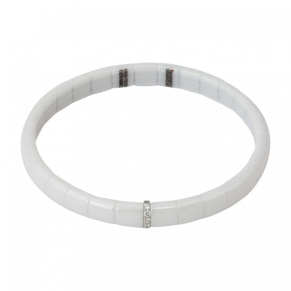 White Ceramic Single Bar Diamond Bracelet