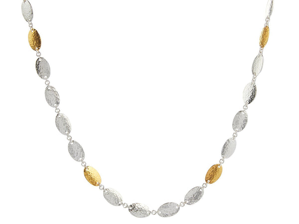 Mango Silver Necklace - All Around with Four Gold Flakes