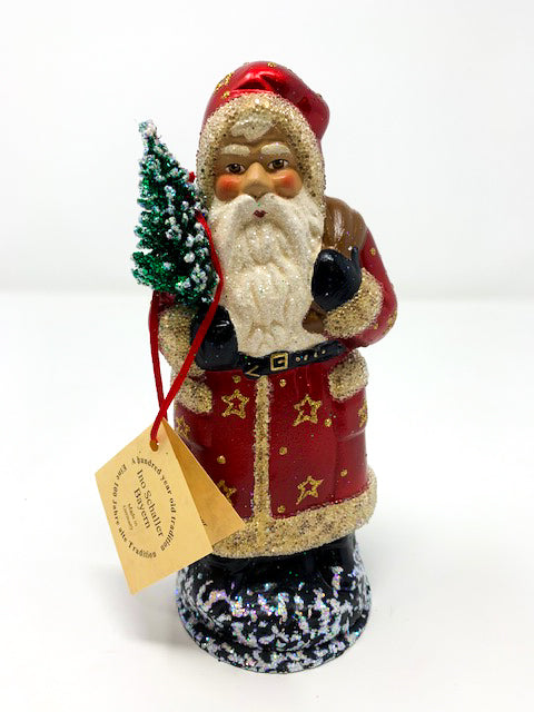 Red and Gold Star Santa
