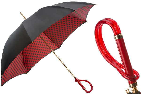 Black and Red Umbrella with Polka Dots
