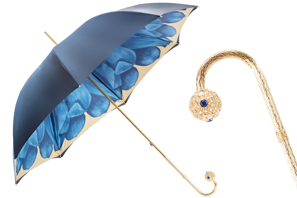 Luxury Blue Dahlia Umbrella