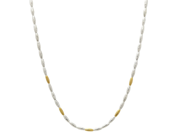 Single Strand Silver Necklace with Five Gold Wheats