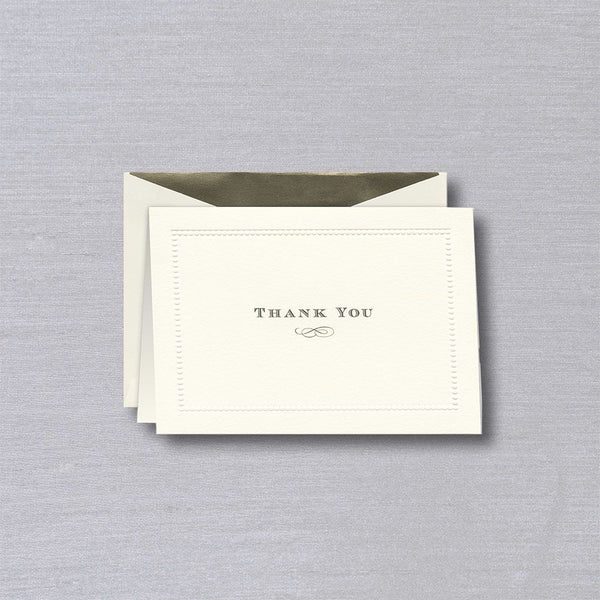 Crane Beaded Border Ecru Thank You Note