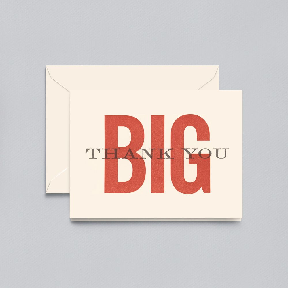 Letterpress Big Thank You Note