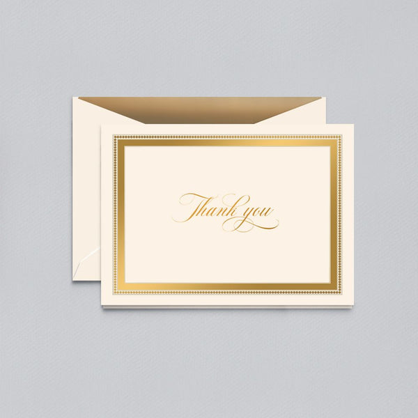 Crane Gold Beaded Border Thank You Note