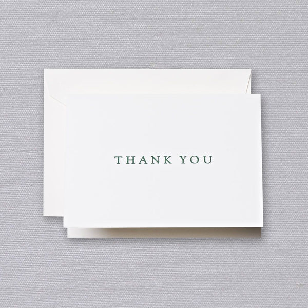 Letterpress Hunter Green Thank You Note