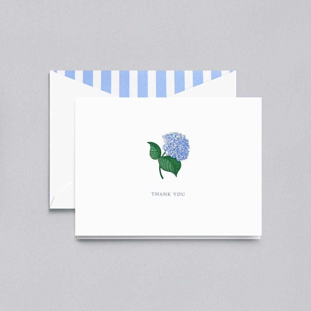 Engraved Hydrangea Thank You Note