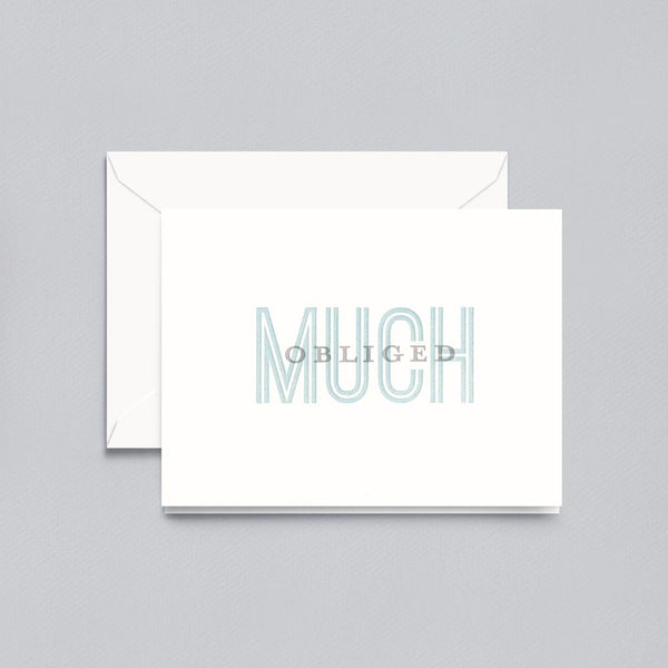 Letterpress Much Obliged Thank You Note